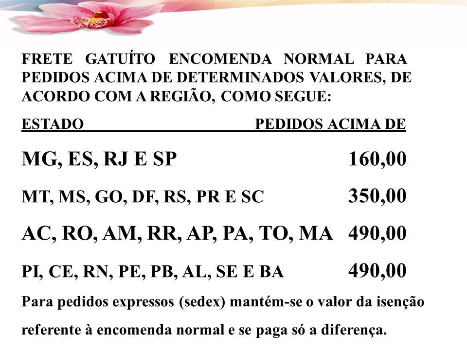 MG, ES, RJ E SP 160,00 AC, RO, AM, RR, AP, PA, TO, MA 490,00