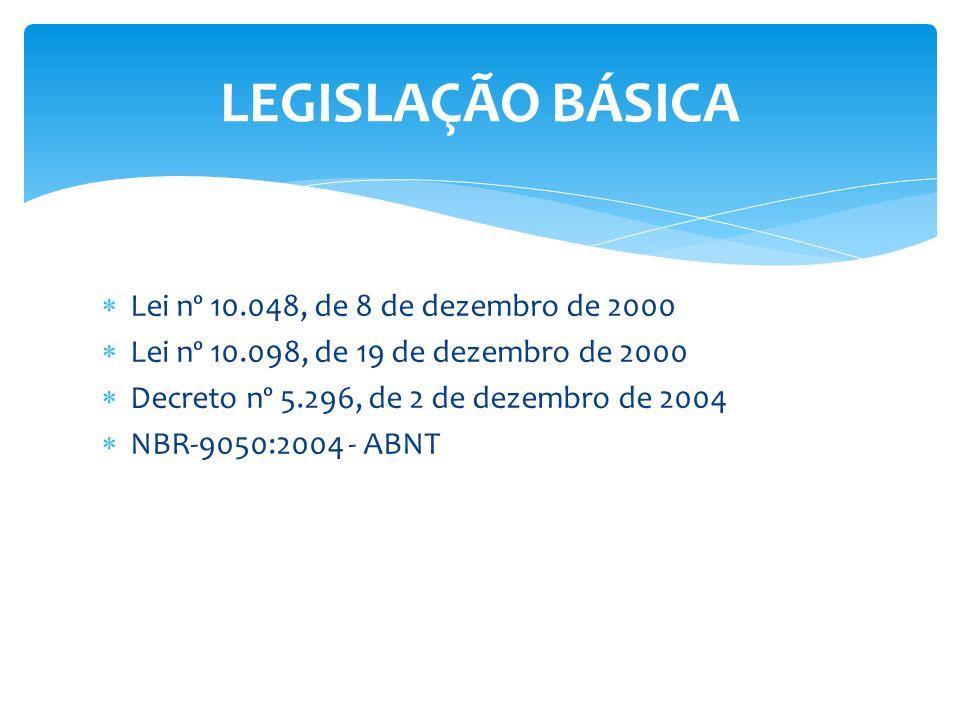 LEGISLAÇÃO BÁSICA Lei nº 10.048, de 8 de dezembro de 2000