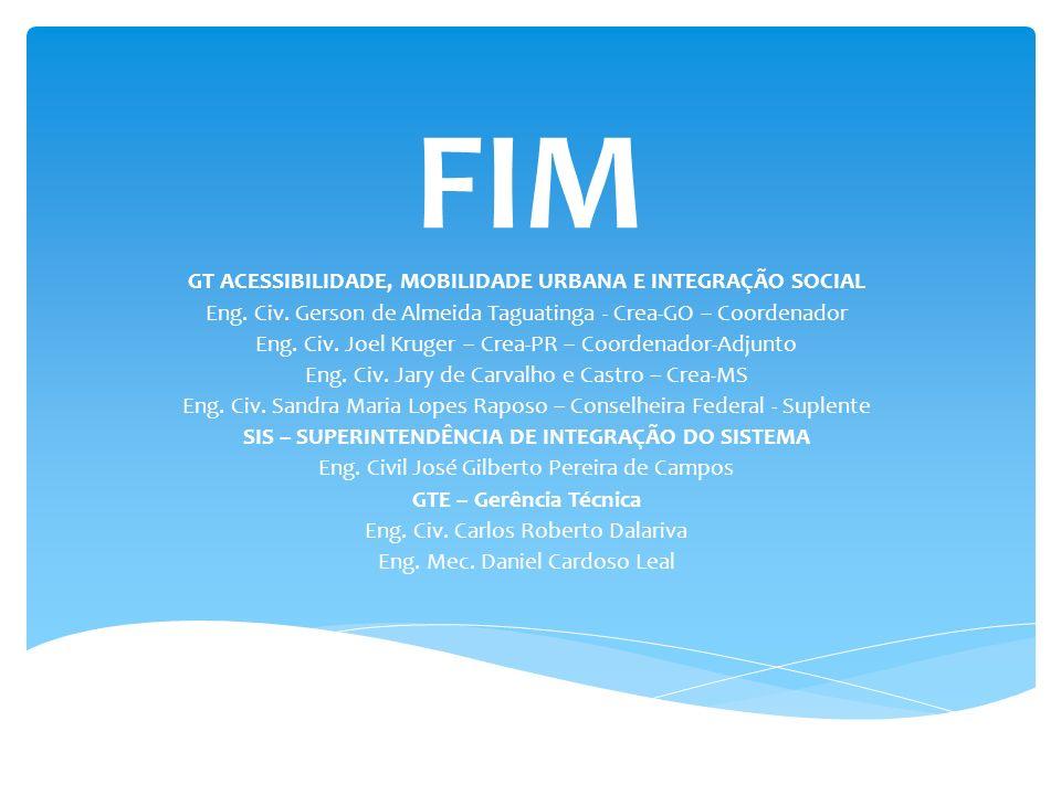 FIM GT ACESSIBILIDADE, MOBILIDADE URBANA E INTEGRAÇÃO SOCIAL