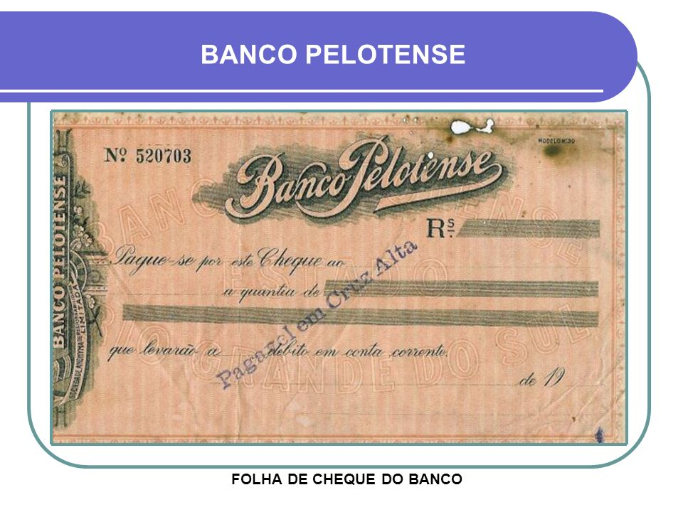 FOLHA DE CHEQUE DO BANCO