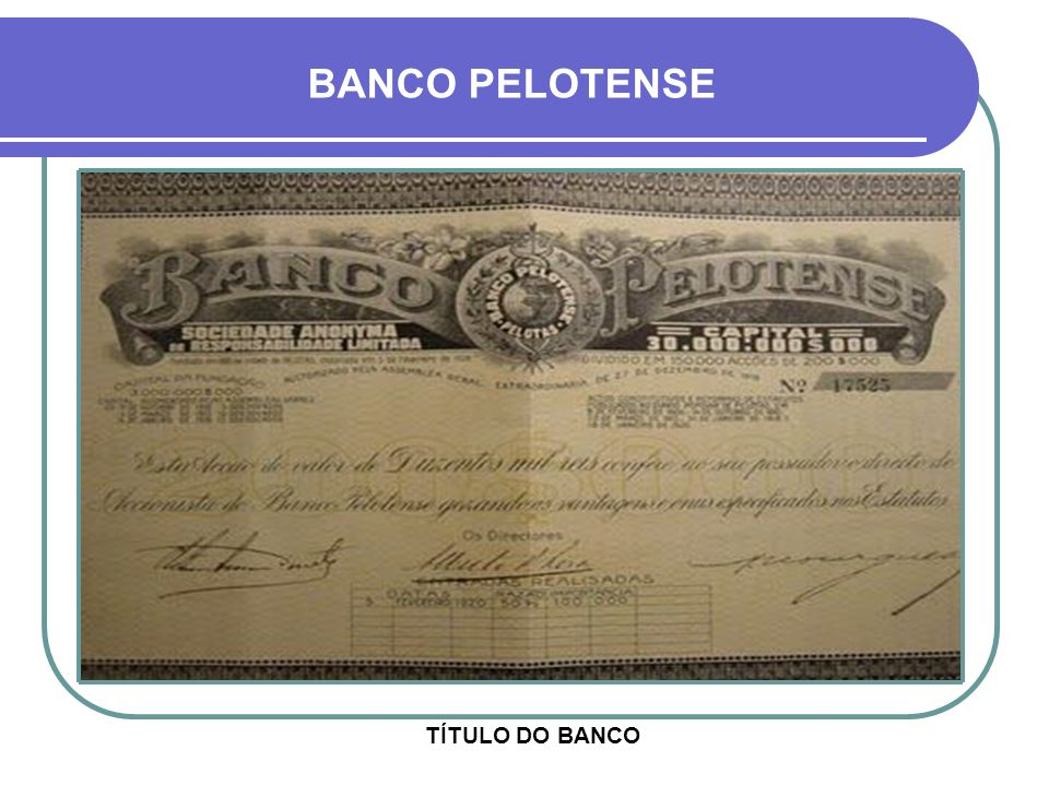 BANCO PELOTENSE TÍTULO DO BANCO