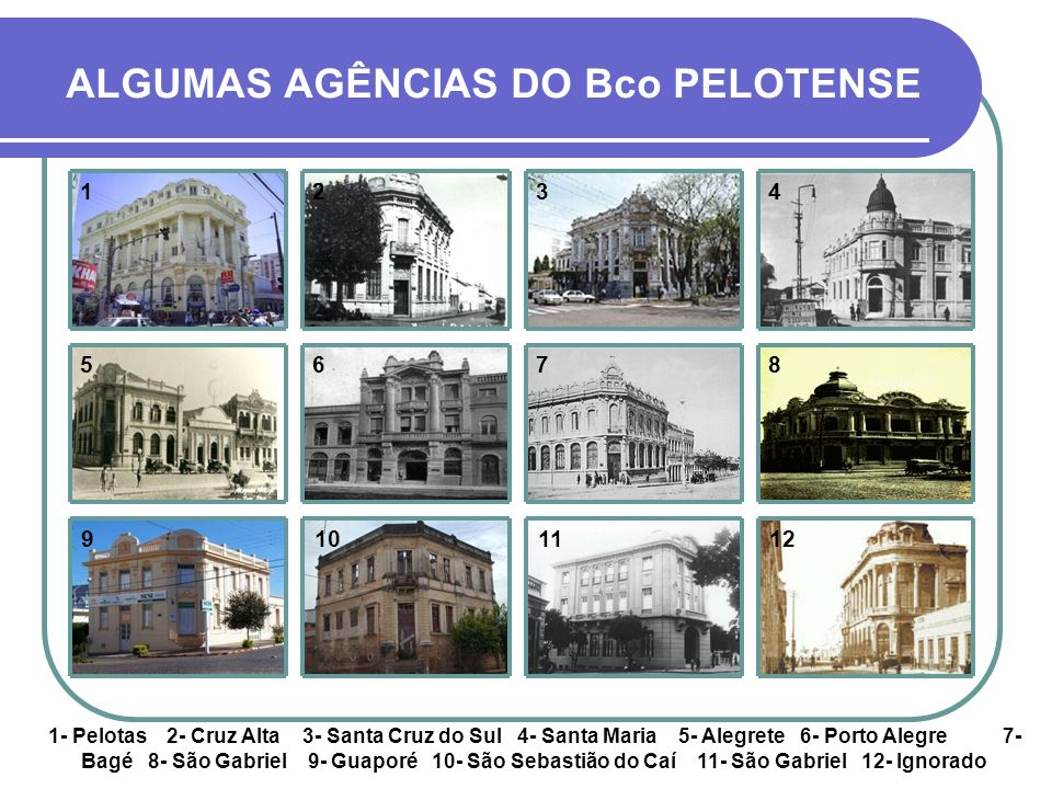 ALGUMAS AGÊNCIAS DO Bco PELOTENSE