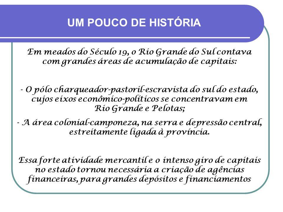 UM POUCO DE HISTÓRIA Em meados do Século 19, o Rio Grande do Sul contava com grandes áreas de acumulação de capitais: