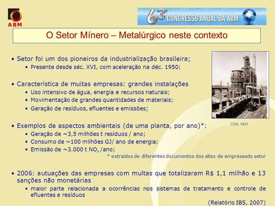 O Setor Mínero – Metalúrgico neste contexto