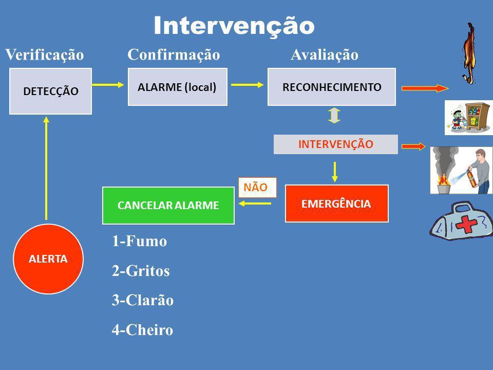 Intervenção Verificação Confirmação Avaliação 1-Fumo 2-Gritos 3-Clarão