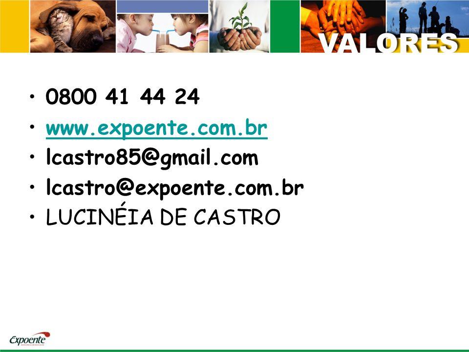 0800 41 44 24 www.expoente.com.br lcastro85@gmail.com lcastro@expoente.com.br LUCINÉIA DE CASTRO