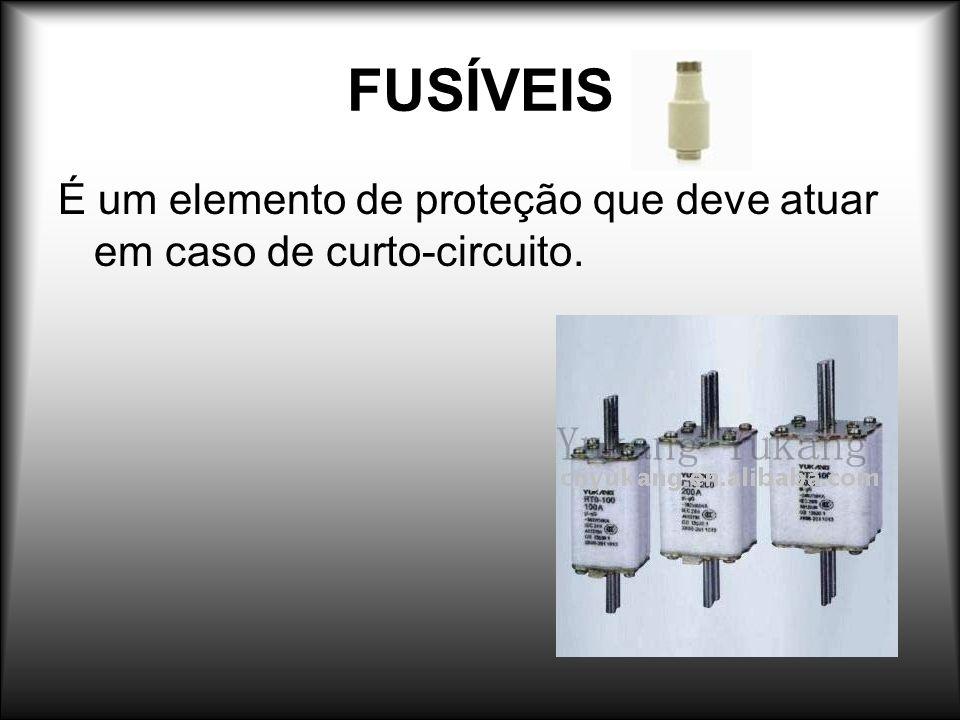 FUSÍVEIS É um elemento de proteção que deve atuar em caso de curto-circuito.