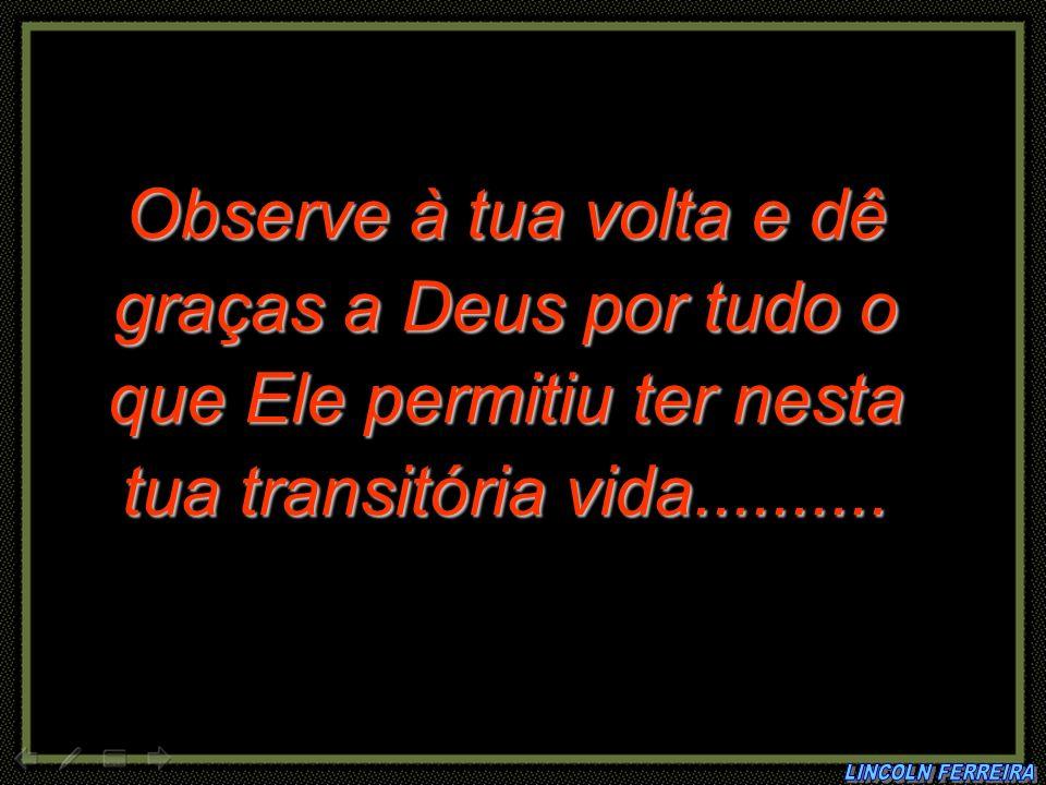 Observe à tua volta e dê graças a Deus por tudo o que Ele permitiu ter nesta tua transitória vida..........