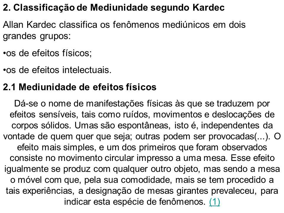 2. Classificação de Mediunidade segundo Kardec