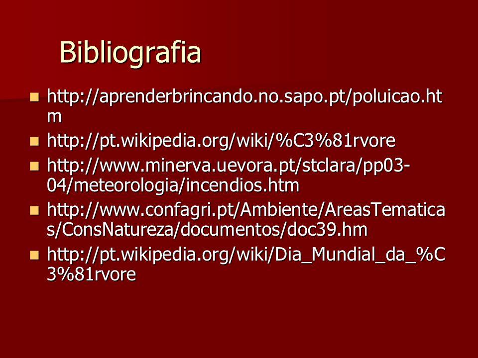 Bibliografia http://aprenderbrincando.no.sapo.pt/poluicao.htm