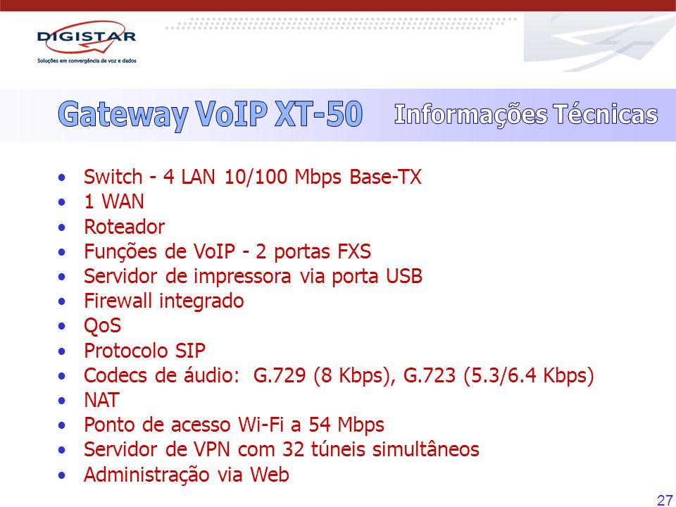 Gateway VoIP XT-50 Informações Técnicas