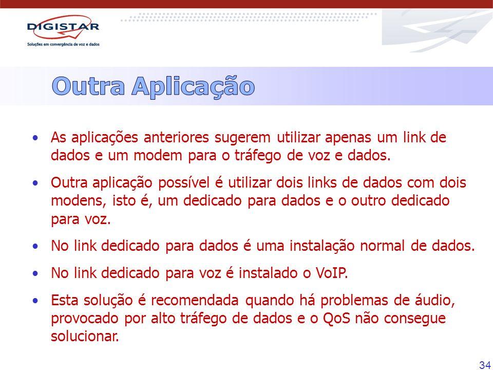 Outra AplicaçãoAs aplicações anteriores sugerem utilizar apenas um link de dados e um modem para o tráfego de voz e dados.