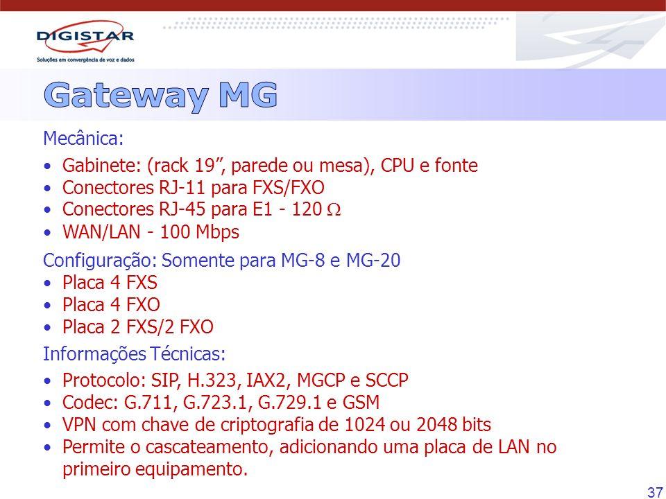 Gateway MG Mecânica: Gabinete: (rack 19 , parede ou mesa), CPU e fonte