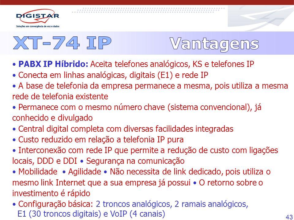 XT-74 IP Vantagens. • PABX IP Híbrido: Aceita telefones analógicos, KS e telefones IP • Conecta em linhas analógicas, digitais (E1) e rede IP.