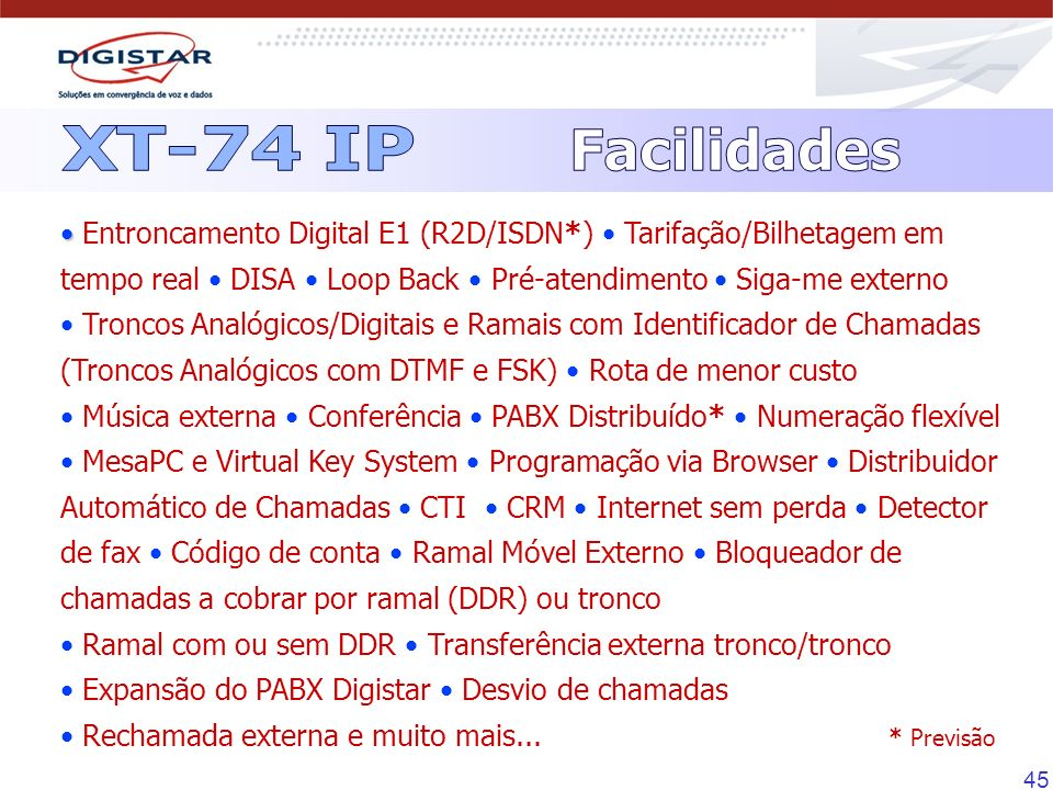 XT-74 IPFacilidades.