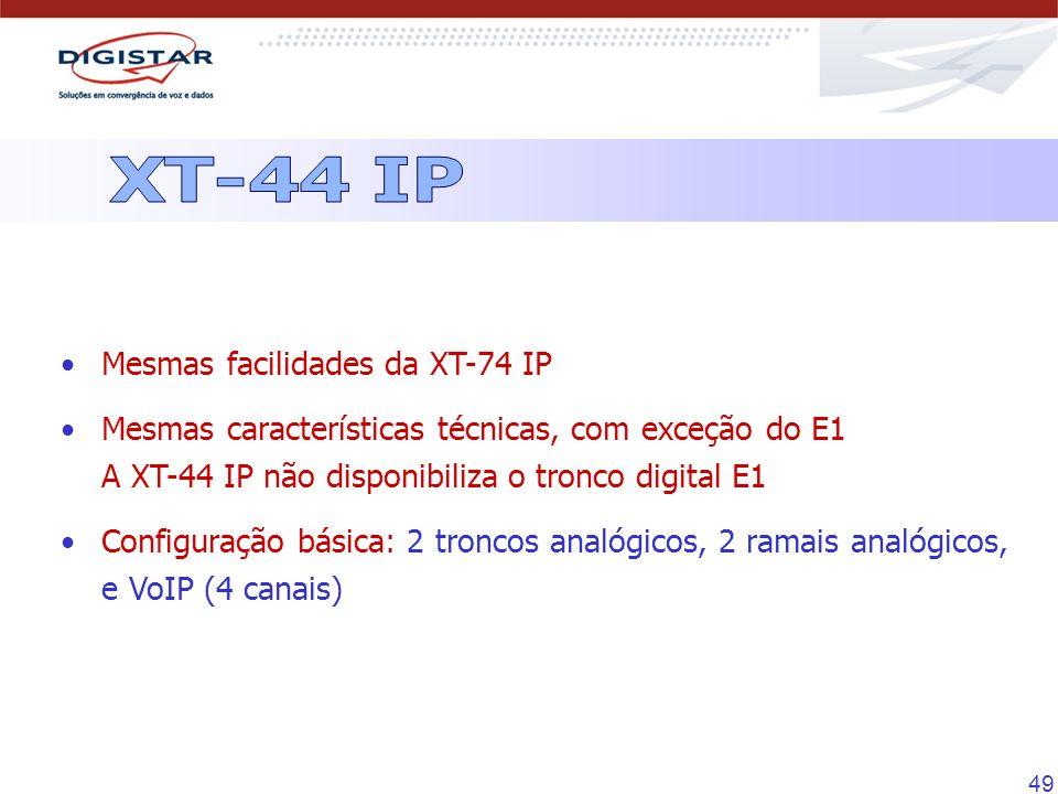 XT-44 IP Mesmas facilidades da XT-74 IP