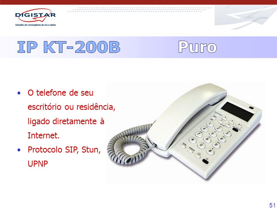 IP KT-200BPuro.O telefone de seu escritório ou residência, ligado diretamente à Internet.