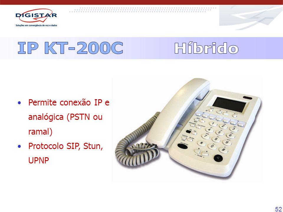 IP KT-200C Híbrido Permite conexão IP e analógica (PSTN ou ramal)