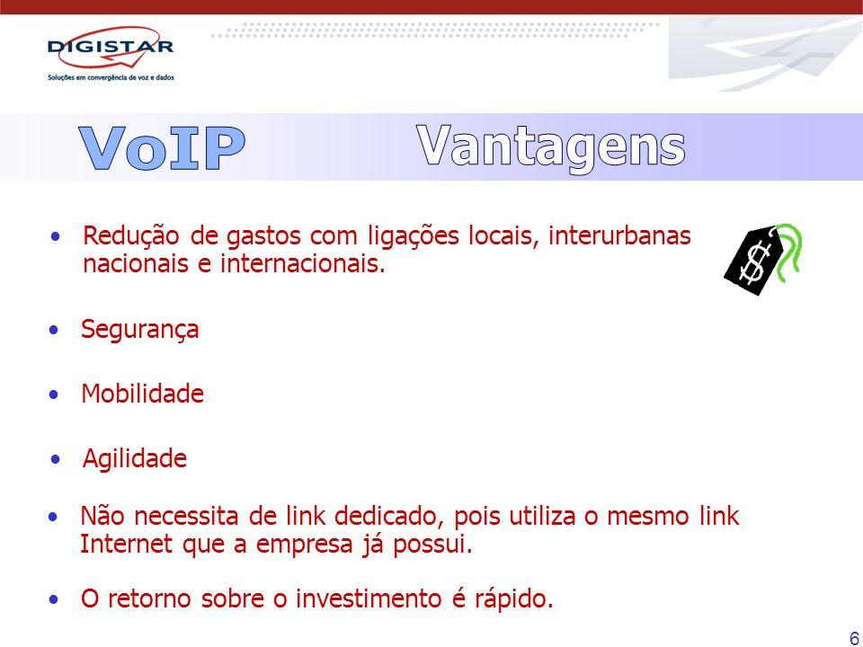VoIP Vantagens. Redução de gastos com ligações locais, interurbanas nacionais e internacionais. Segurança.