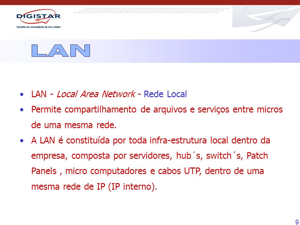 LAN LAN - Local Area Network - Rede Local