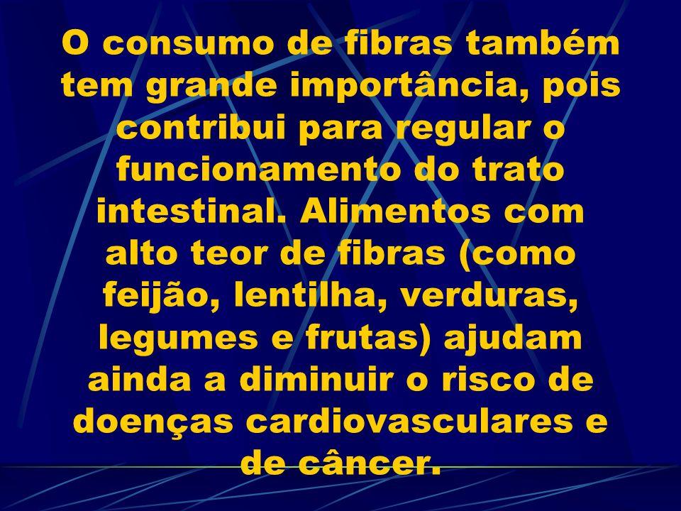 O consumo de fibras também tem grande importância, pois contribui para regular o funcionamento do trato intestinal.