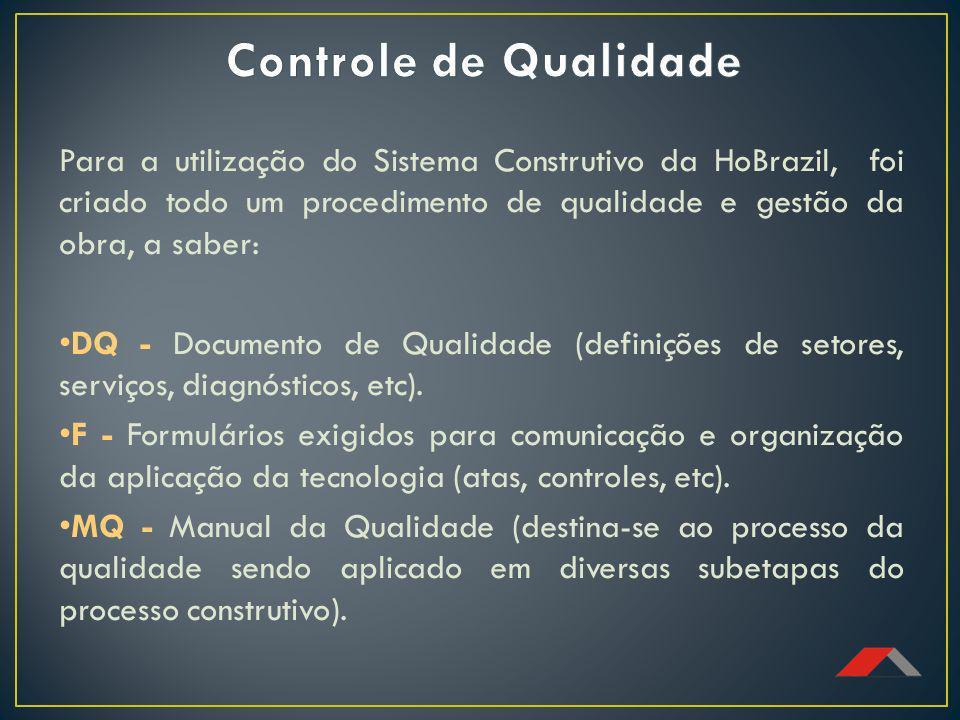 Controle de Qualidade Para a utilização do Sistema Construtivo da HoBrazil, foi criado todo um procedimento de qualidade e gestão da obra, a saber: