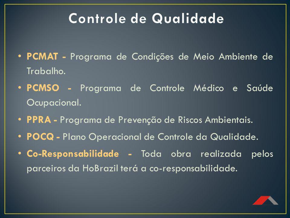 Controle de Qualidade PCMAT - Programa de Condições de Meio Ambiente de Trabalho. PCMSO - Programa de Controle Médico e Saúde Ocupacional.