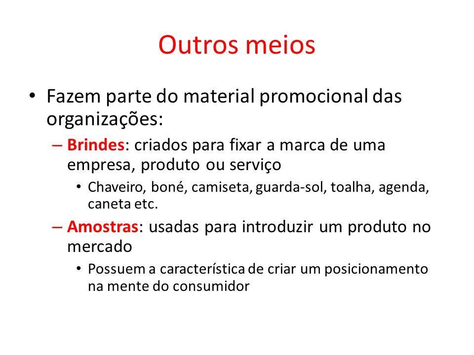 Outros meios Fazem parte do material promocional das organizações: