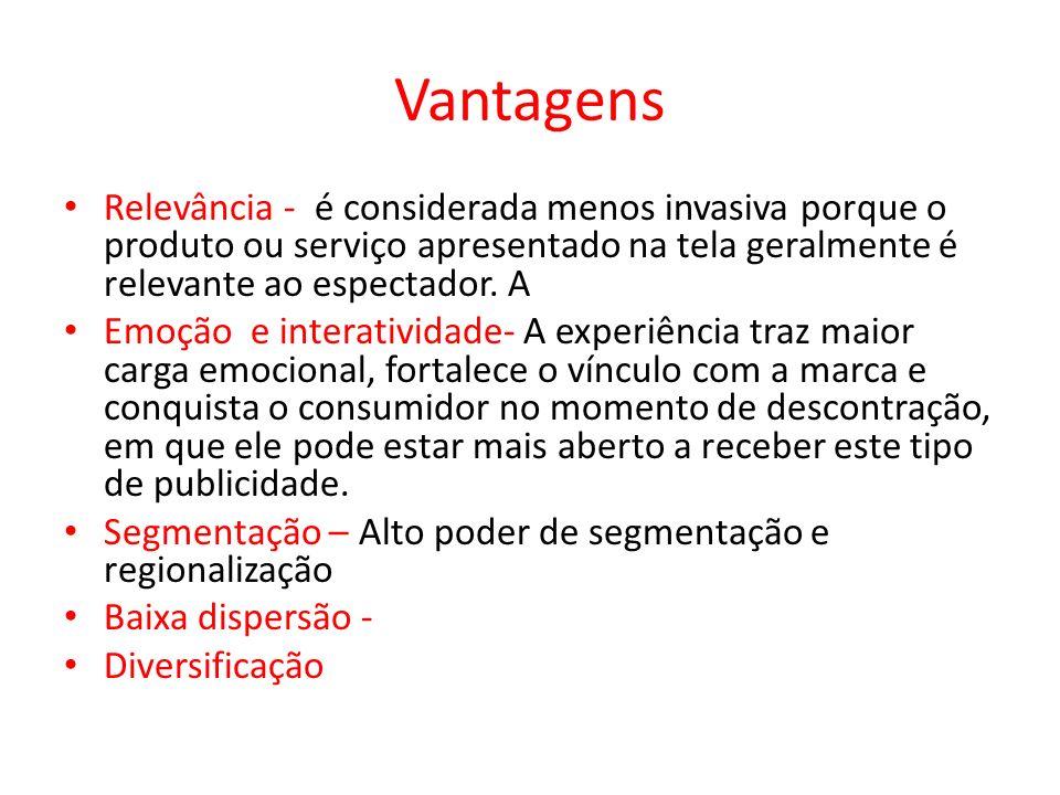 Vantagens Relevância - é considerada menos invasiva porque o produto ou serviço apresentado na tela geralmente é relevante ao espectador. A.