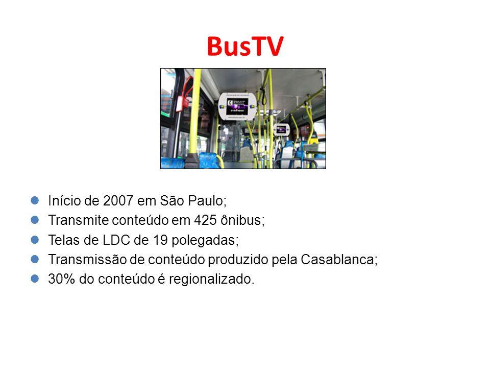 BusTV Início de 2007 em São Paulo; Transmite conteúdo em 425 ônibus;