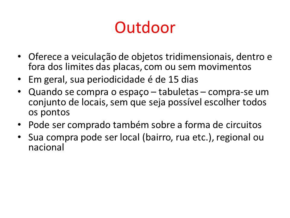 Outdoor Oferece a veiculação de objetos tridimensionais, dentro e fora dos limites das placas, com ou sem movimentos.
