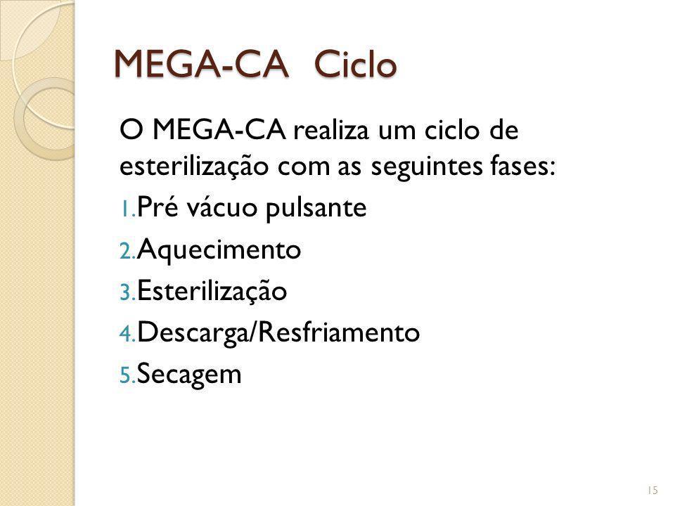 MEGA-CA Ciclo O MEGA-CA realiza um ciclo de esterilização com as seguintes fases: Pré vácuo pulsante.