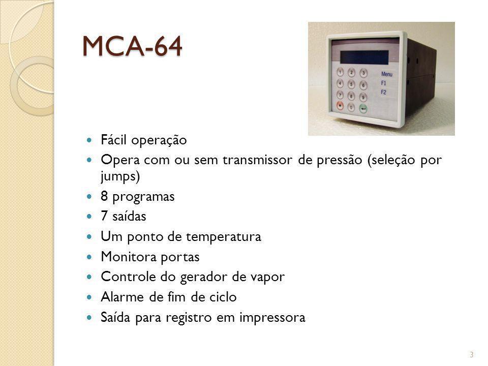 MCA-64 Fácil operação. Opera com ou sem transmissor de pressão (seleção por jumps) 8 programas. 7 saídas.