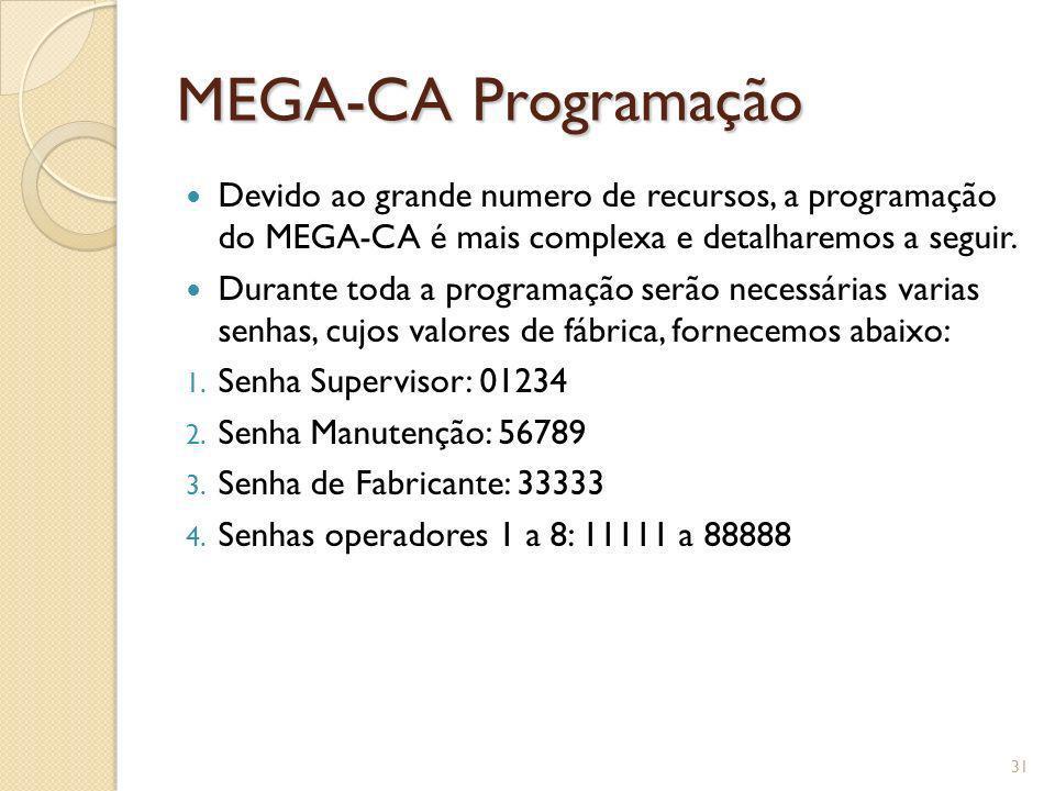 MEGA-CA Programação Devido ao grande numero de recursos, a programação do MEGA-CA é mais complexa e detalharemos a seguir.