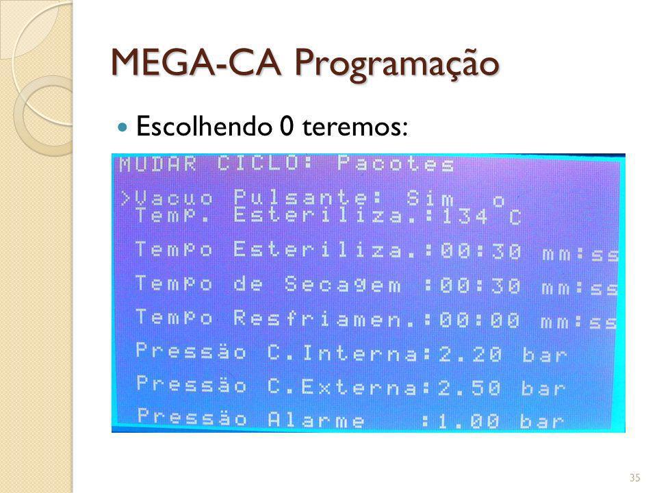 MEGA-CA Programação Escolhendo 0 teremos:
