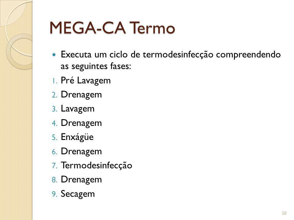 MEGA-CA Termo Executa um ciclo de termodesinfecção compreendendo as seguintes fases: Pré Lavagem.