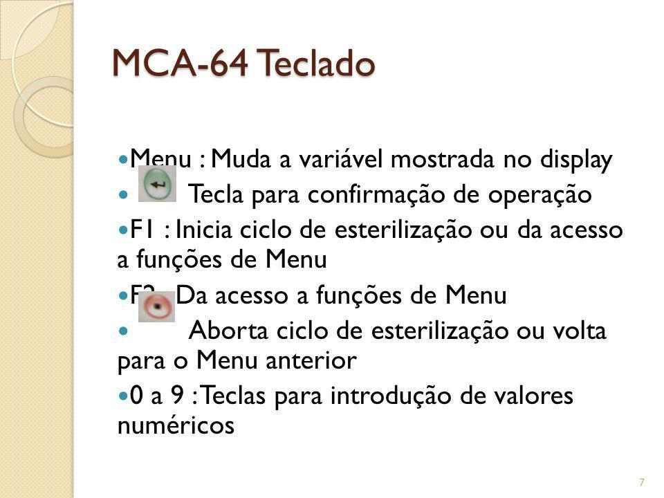 MCA-64 Teclado Menu : Muda a variável mostrada no display