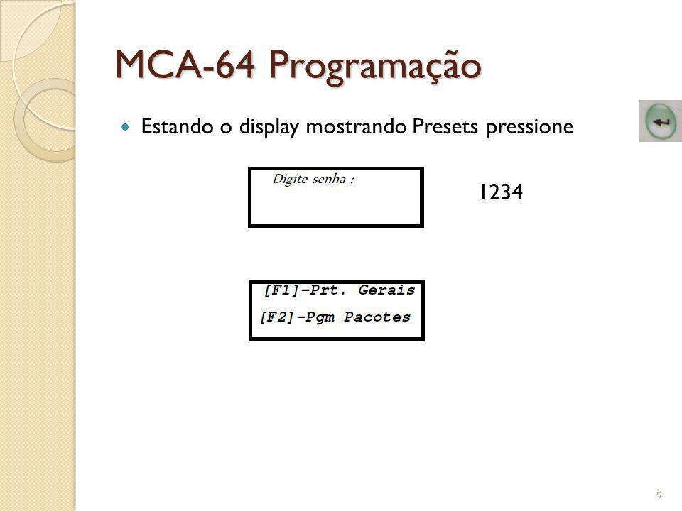MCA-64 Programação Estando o display mostrando Presets pressione 1234
