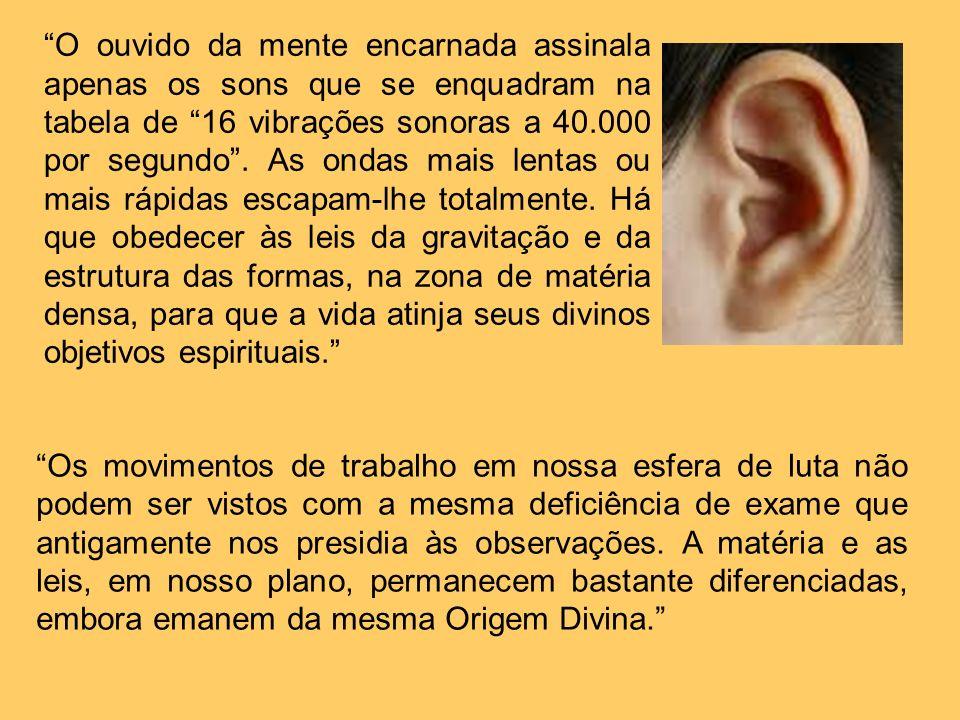 O ouvido da mente encarnada assinala apenas os sons que se enquadram na tabela de 16 vibrações sonoras a 40.000 por segundo . As ondas mais lentas ou mais rápidas escapam-lhe totalmente. Há que obedecer às leis da gravitação e da estrutura das formas, na zona de matéria densa, para que a vida atinja seus divinos objetivos espirituais.