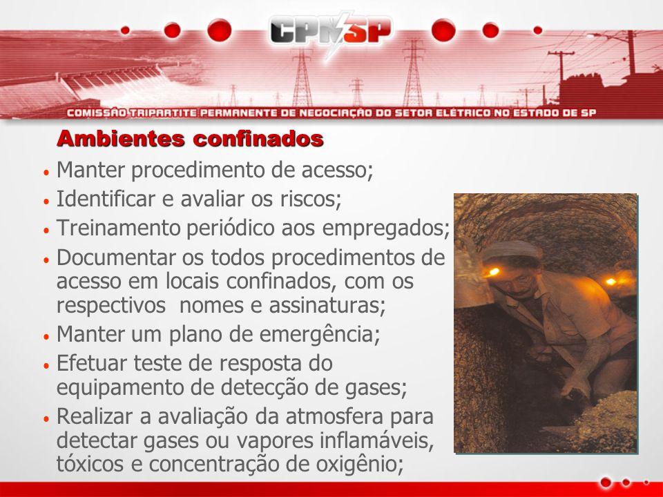Ambientes confinados Manter procedimento de acesso; Identificar e avaliar os riscos; Treinamento periódico aos empregados;