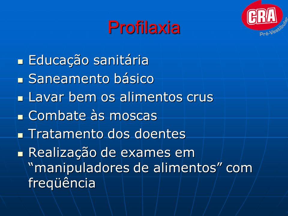 Profilaxia Educação sanitária Saneamento básico