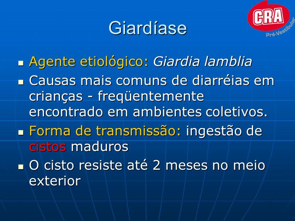 Giardíase Agente etiológico: Giardia lamblia