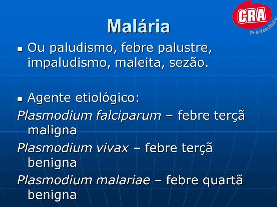 Malária Ou paludismo, febre palustre, impaludismo, maleita, sezão.