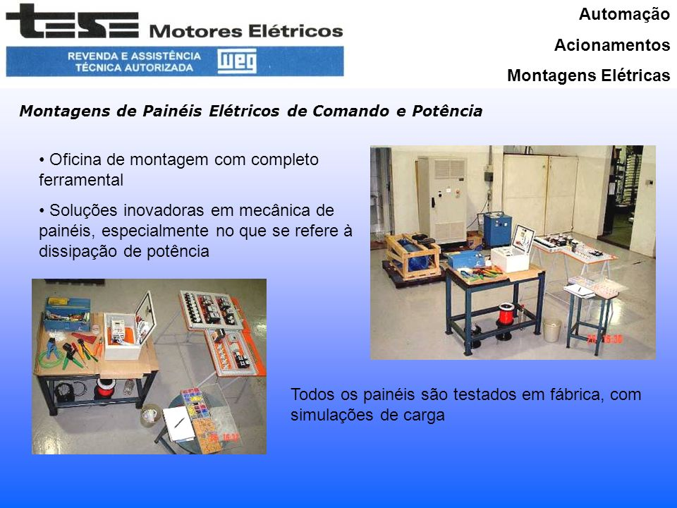 Oficina de montagem com completo ferramental