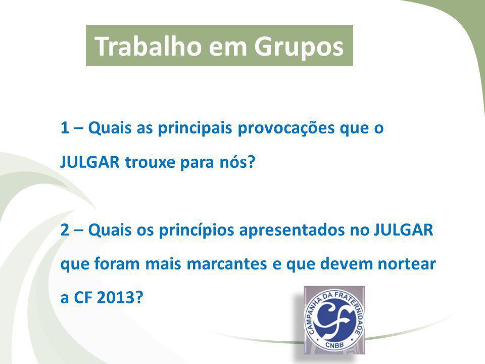 Trabalho em Grupos 1 – Quais as principais provocações que o JULGAR trouxe para nós