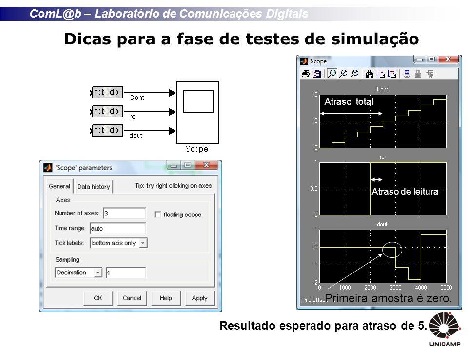 Dicas para a fase de testes de simulação