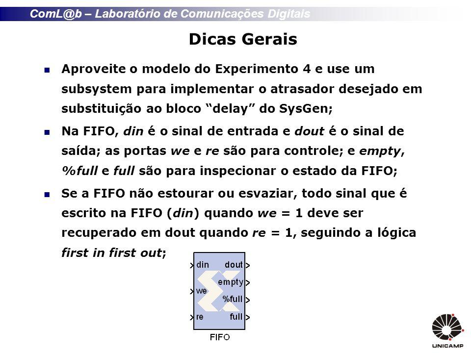 Dicas Gerais Aproveite o modelo do Experimento 4 e use um subsystem para implementar o atrasador desejado em substituição ao bloco delay do SysGen;