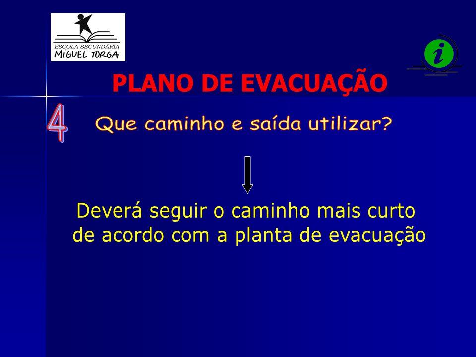 Deverá seguir o caminho mais curto de acordo com a planta de evacuação