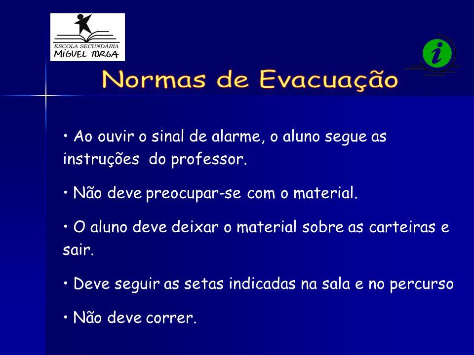 Normas de Evacuação Ao ouvir o sinal de alarme, o aluno segue as instruções do professor. Não deve preocupar-se com o material.
