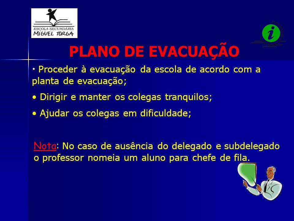 PLANO DE EVACUAÇÃO Proceder à evacuação da escola de acordo com a planta de evacuação; Dirigir e manter os colegas tranquilos;